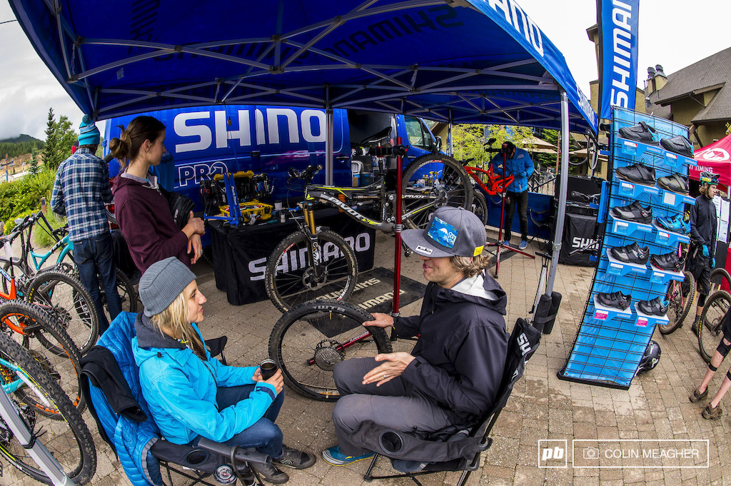 The Shimano nuetral-ish we can t really work on SRAM stuff support was on hand to support racers free of charge. Pivot s Carolyn Romaine chats it up with Nick and Kim Hardin on the eve of racing.