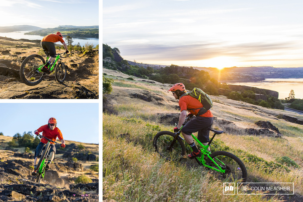 Tyler tackling a pre work dawn patrol on the Syncline Trais in the Columbia River Gorge.