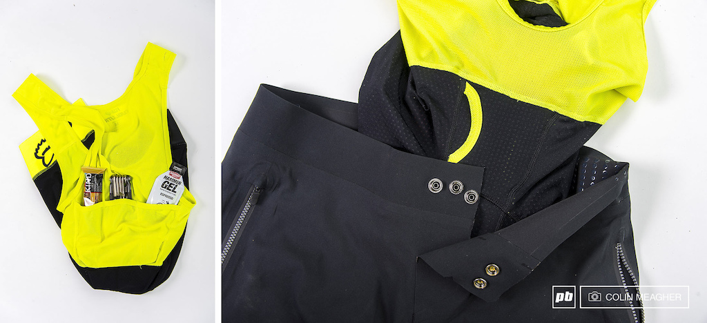 Details of the Fox Evolution Pro Attack Liner Bib Short and the Attack Pro Shorts. Note the pockets across the small of the back on the bib liner short the flap fly on the liner for trail side relief and the 3 snap closure adjuster for the Attack Pro Shorts.