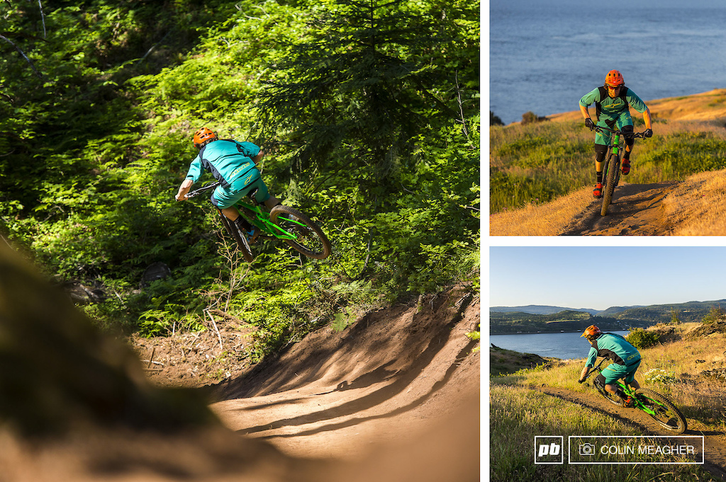 Tyler pushing the Alpinestars Drop 2 Kit around on some of the local Hood River area trails.