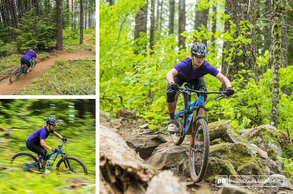 Nikki Hollatz testing the Giro women s Truant Shorts and the women s Venture Sport Jersey on Hidden and Borderline Trails in Hood River s Post Canyon.