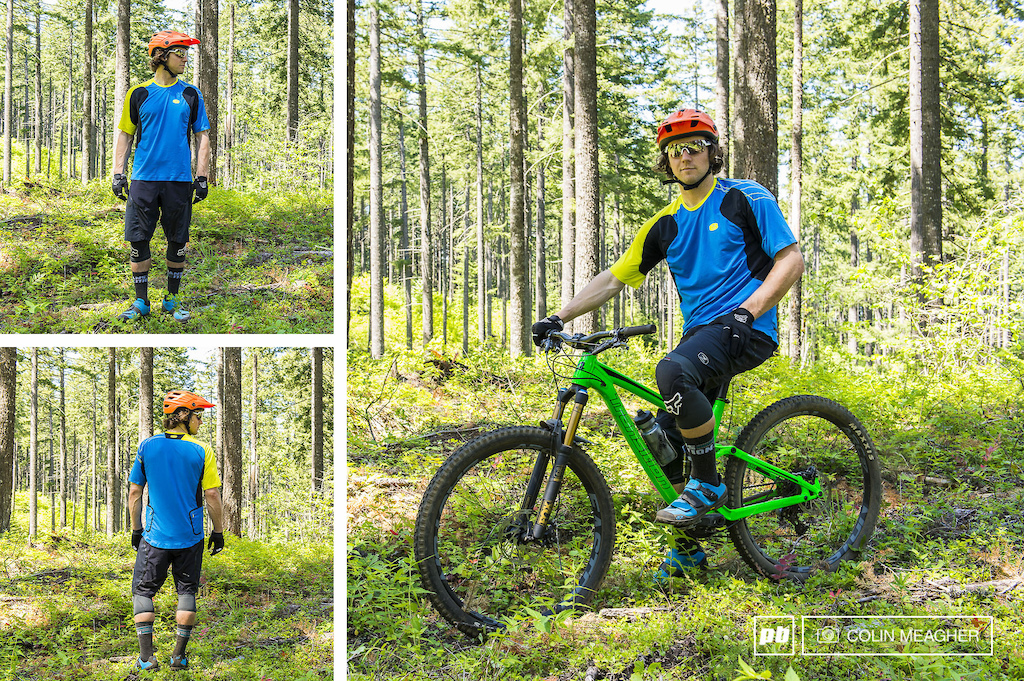 Tyler modeling Sugoi s RSX Suspension Short MSRP 210 and the RSX Jersey MSRP 100 USD . Tyler is also wearing Kali Protectives Maya helmet Kali Protectives Hasta Gloves Smith VO2 Max Pivlock Shades Giro Terraduro shoes and Fox Evolution Launch Knee Pads.