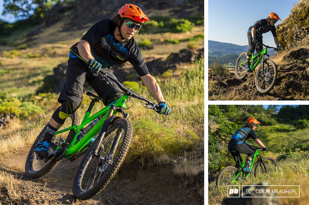 Tyler drifting the Syncline Trails in the Dakine Pace Shorts Charger Jersey Slayer Knee Pads and Traverse Gloves. Tyler is also wearing the Kali Maya helmet and the Giro Terraduro shoes.