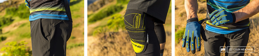 Detail on Dakine s Pace Shorts Slayer Knee Pads and the Traverse Gloves.