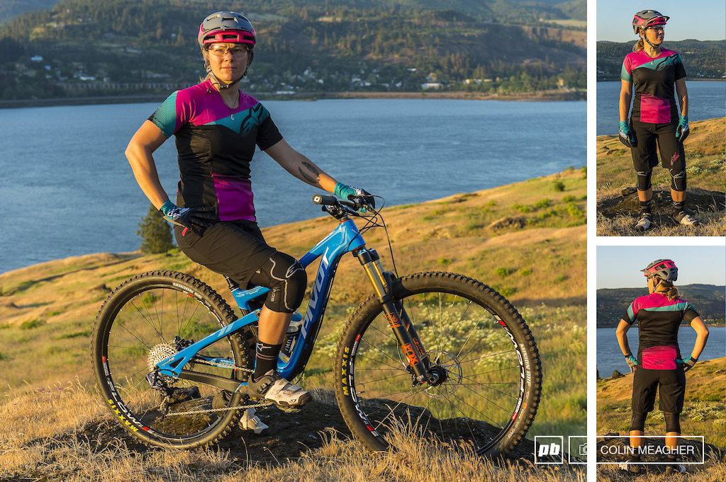 Nikki Hollatz with the Stella Pathfinder Short MSRP 114.95 USD and the Stella Mesa SS Jersey MSRP 59.95 USD . Nikki is also wearing the Paragon Knee Guards 39.95 F-Lite Glove 24.95 MTB Summer socks 12.95 Smith Forefront MIPS helmet Pivlock Asana shades and Giro Sica VR70 shoes.