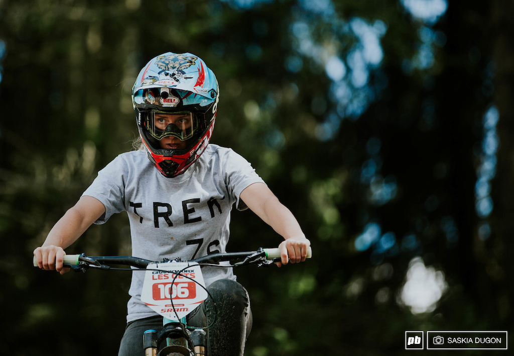 Casey Brown with her game face before her run down the Crankworx Les Gets womens Dual Slalom.