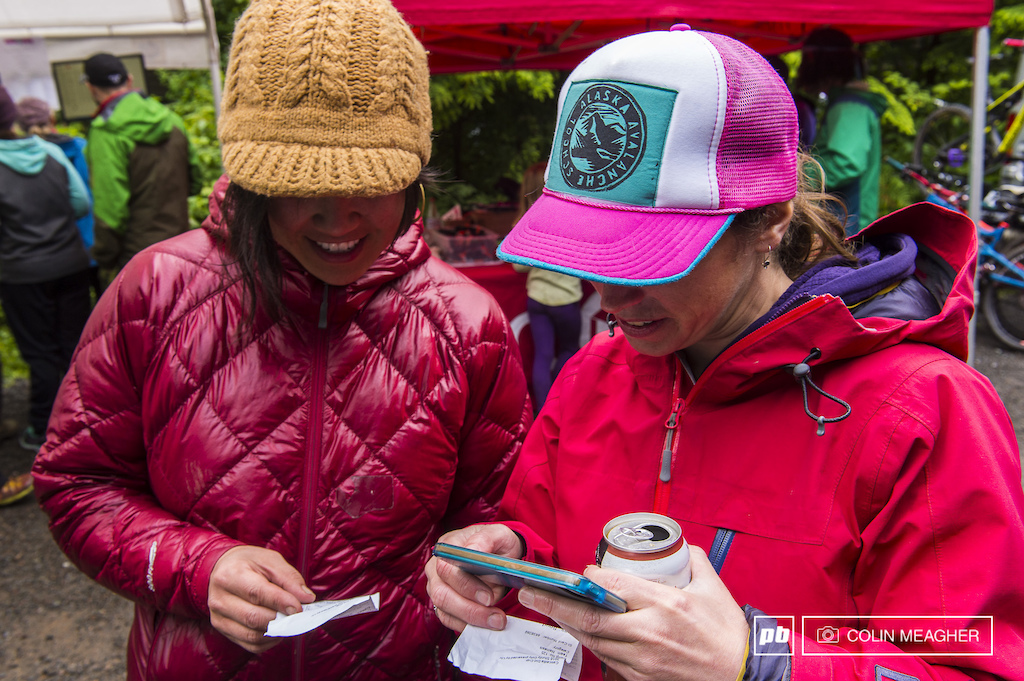 Lisa Hong and Laura LeBlanc comparing notes on the day. Red Tent timing was able to provide instant print outs when racers handed in their timing chips. Pretty trick. This was an upgrade from last year when racers had to be scanned at the start and end of each stage.