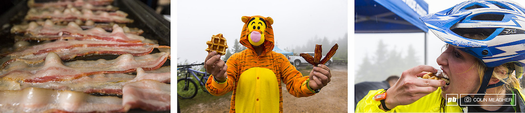 I really have no idea what the PCNW fascination with bacon and bike racing is but I personally have no complaints about a bacon hand up station at the top of stage 1 for the Pro Expert racers. Along with Belgian waffle s mores. All handed off by a cheeful Tigger . The results Dee-lish