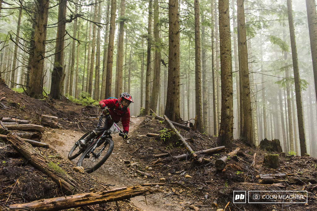 Isabelle Deguise railing a berm on Off the Grid.