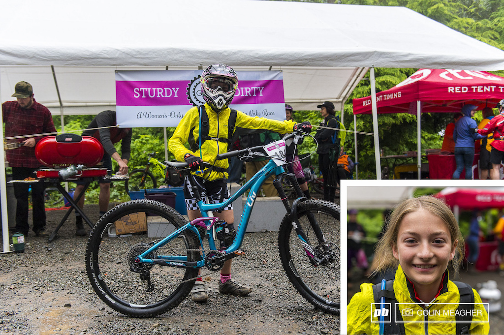 The rookie 11 year old Callah Robinson. I think it s really cool that this is a women s only event. I wanted to race because I hadn t done an enduro before and it sounded fun. I m so excited. Robinson took second in her division junior beginner.