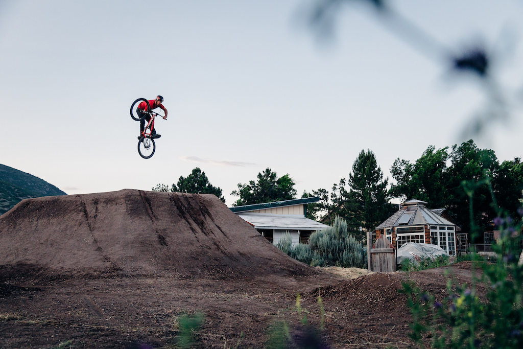 Eric Porter laying it out on the freshly rebuilt backyard dirt jumps