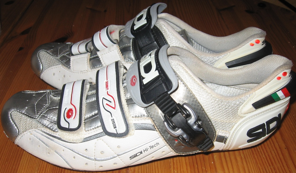 2007 Sidi Men's White/Chrome Genius 6.6 Carbon Shoes 44.5