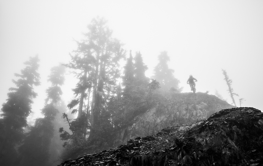 Chris Draper getting some foggy Whistler riding in before the dust bowl.