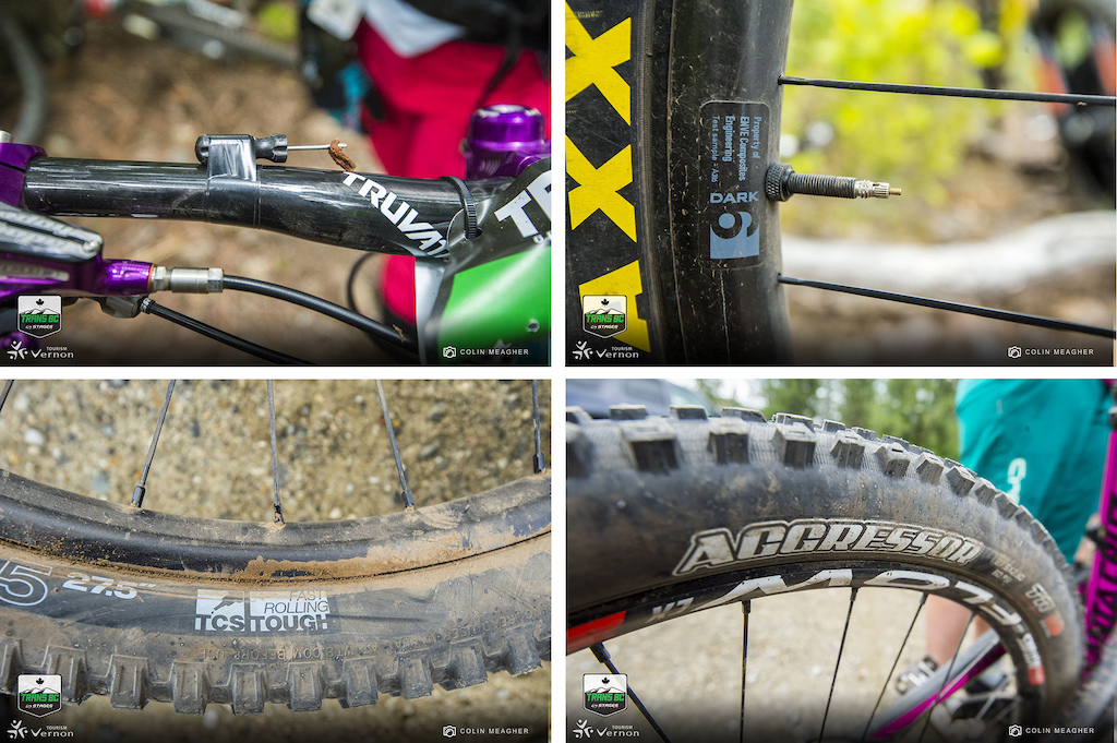 Punctures are the biggest time suck on stage racing like this. And most of the competitors came prepared. Some have tire plugs strapped to the handlebar for quick repairs but prevention is the best course of action. And there were a TON of DH casing tires on track with the Maxxis Aggressor and the WTB TCS Tough casings seen on a lot of bikes. And then there were the more subtle preventative measures ENVE Dark 6 rims on a handful of wheels.