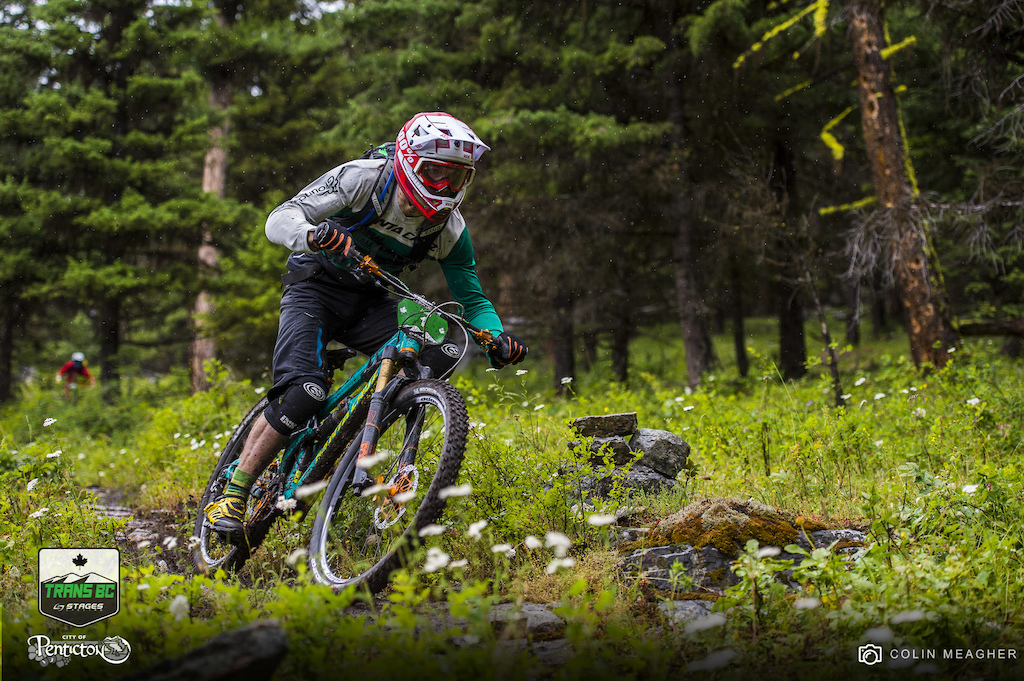 Jamie Nicoll kept it dialed back a hair and somehow manage to avoid getting a flat or two during rock filled seven stages on day two of the Trans BC Enduro.