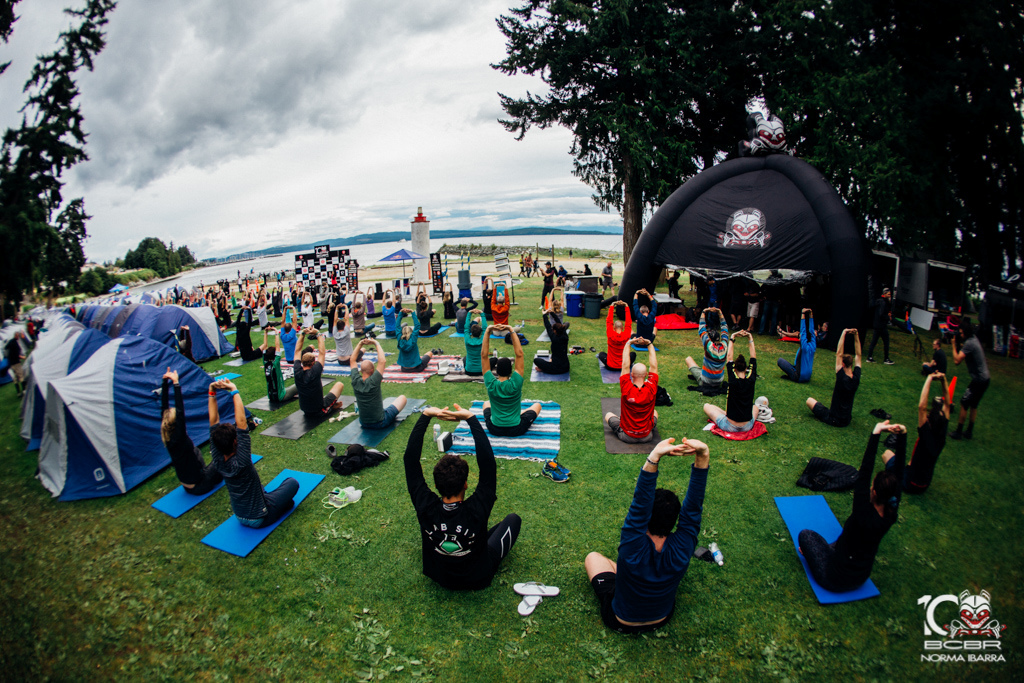 Lululemon Provides free yoga everyday as well as some of the clothing for riders and crew.
