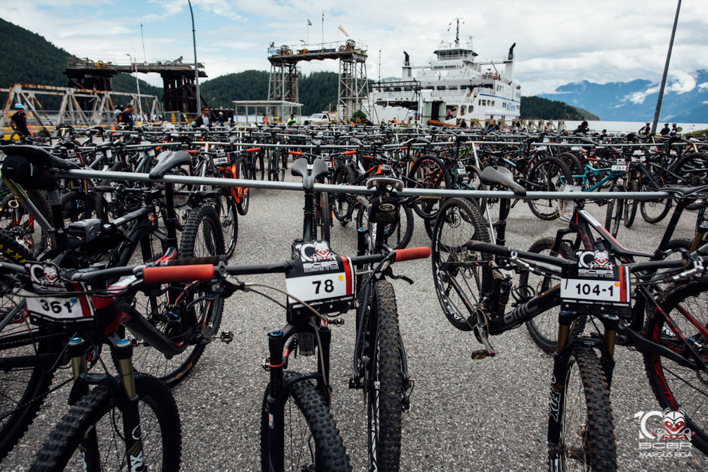 Bikes were ready for the riders in Earls Cove