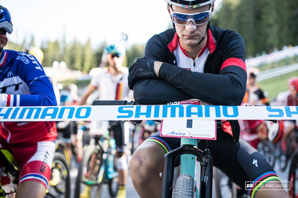 Crowned World Champion a week earlier Sam Gaze rocks the rainbow stripes in Lenzerheide.