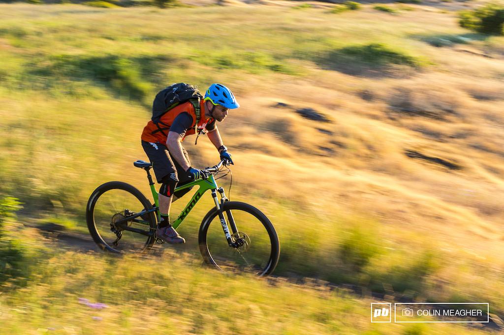 Vernon Felton testing bikes on the trails surrounding Hood River OR.