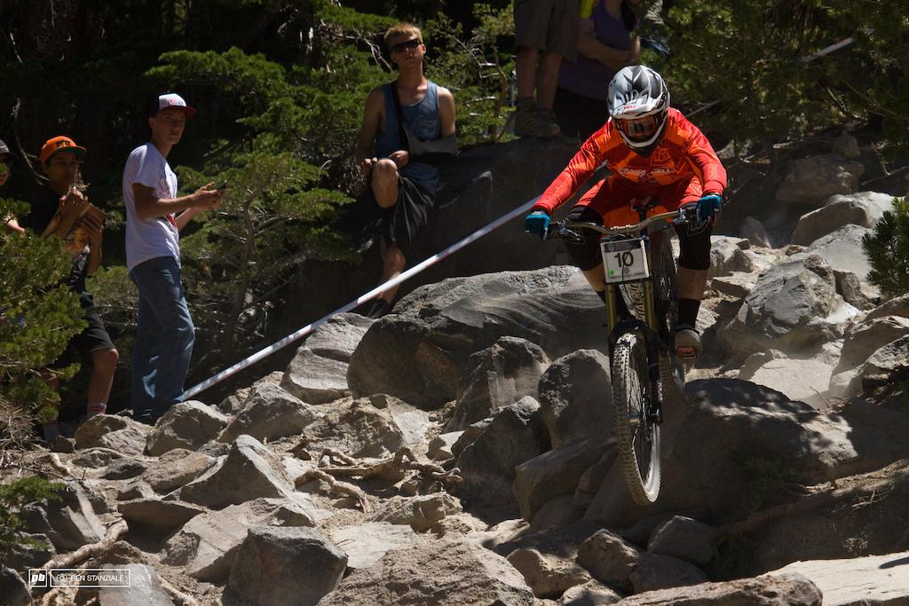 Kiran MacKinnon out of Santa Cruz, CA rides into 5th place.