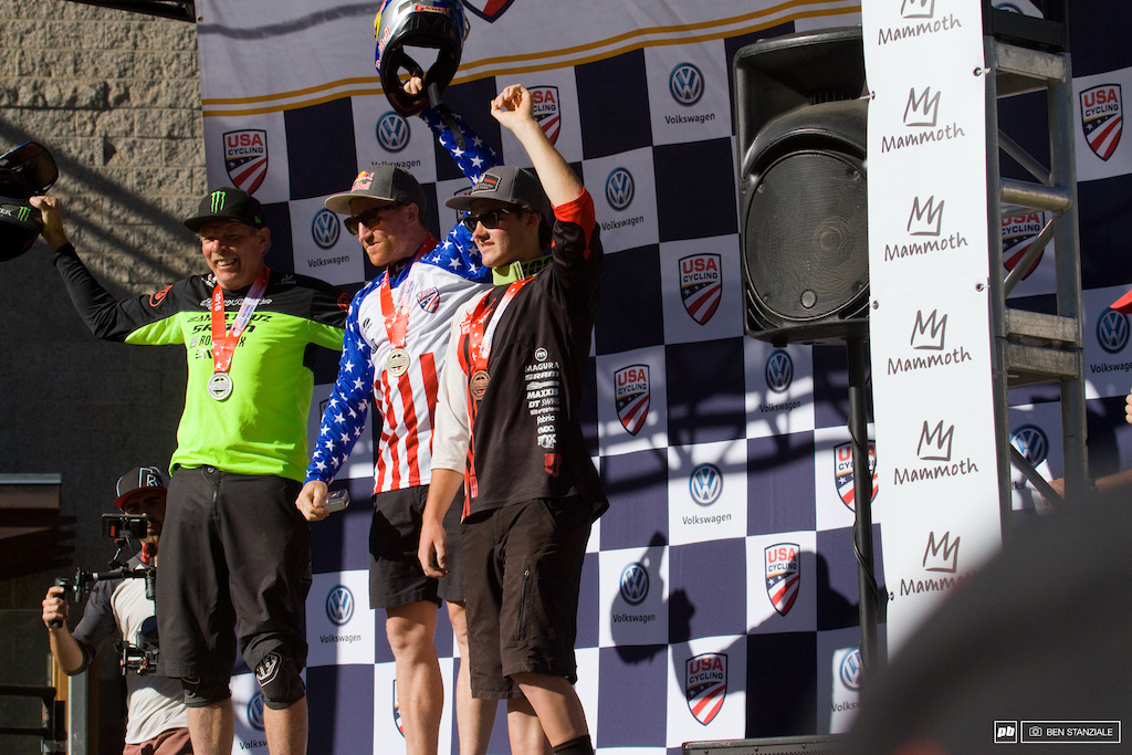 USA Nationals Mens Pro DH Podium. 1- Aaron Gwin. 2- Mitch Ropelato. 3- Shane Leslie. (Mitch's agent as pictured).