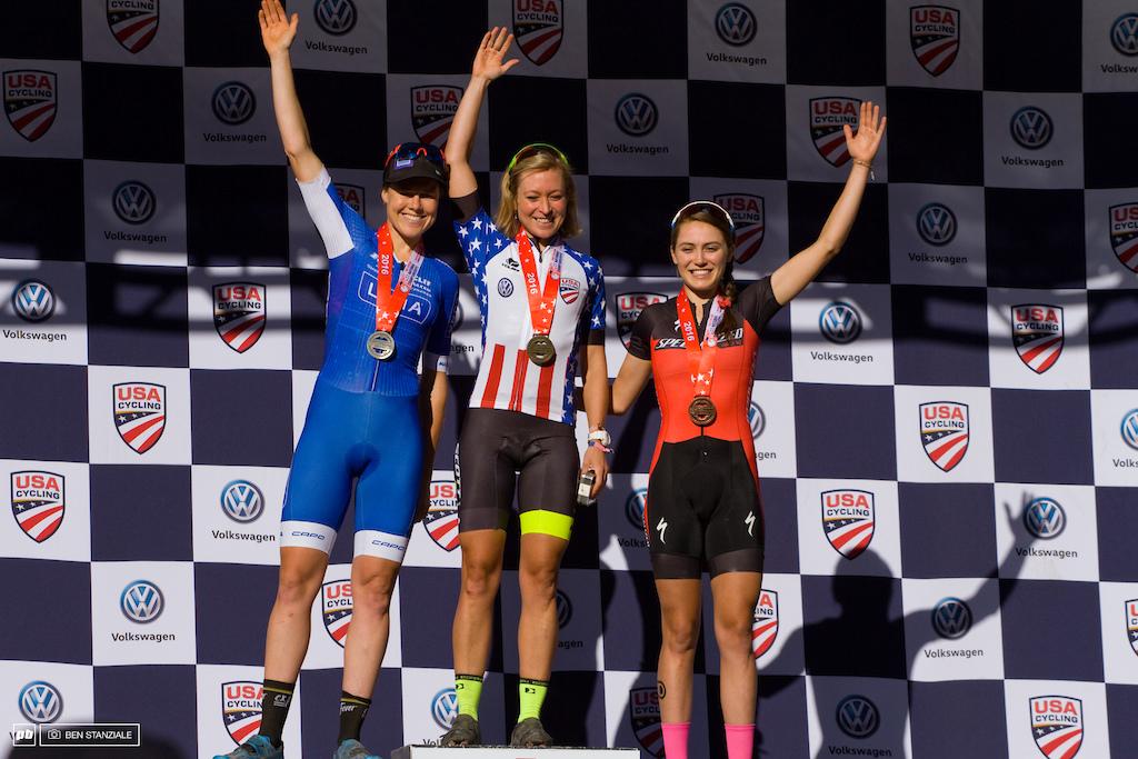 USA National Champion Pro Women Short Track XC Podium: 1st- Erin Huck. 2nd- Georgia Gould. 3rd- Kate Courtney.