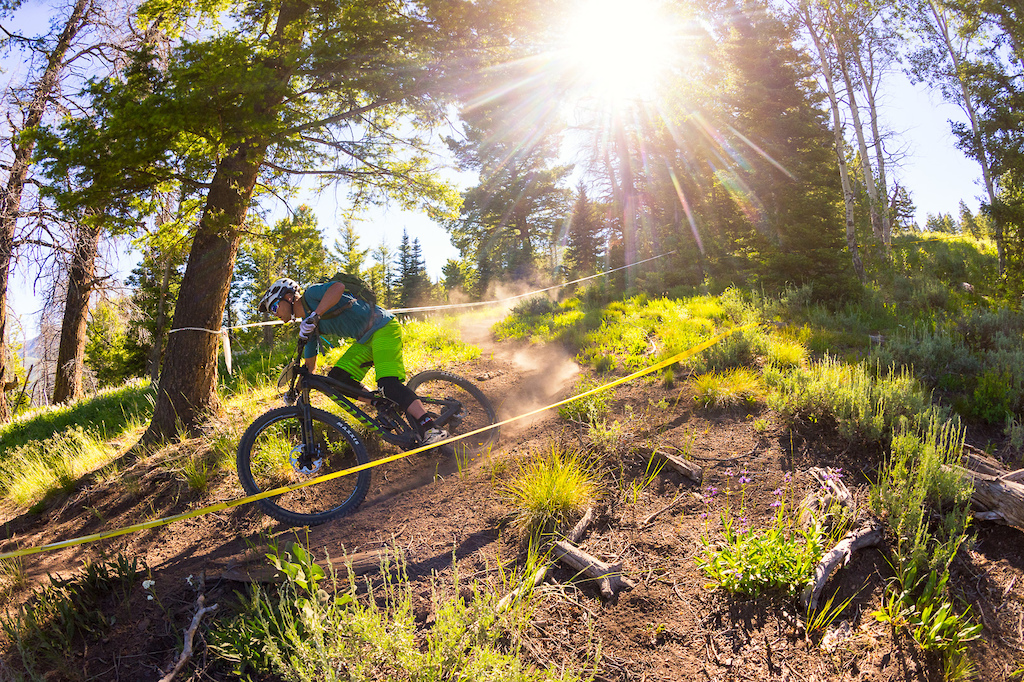 Brad Cole races the new Niner RIP 9 RDO in the Scott Enduro Cup race.