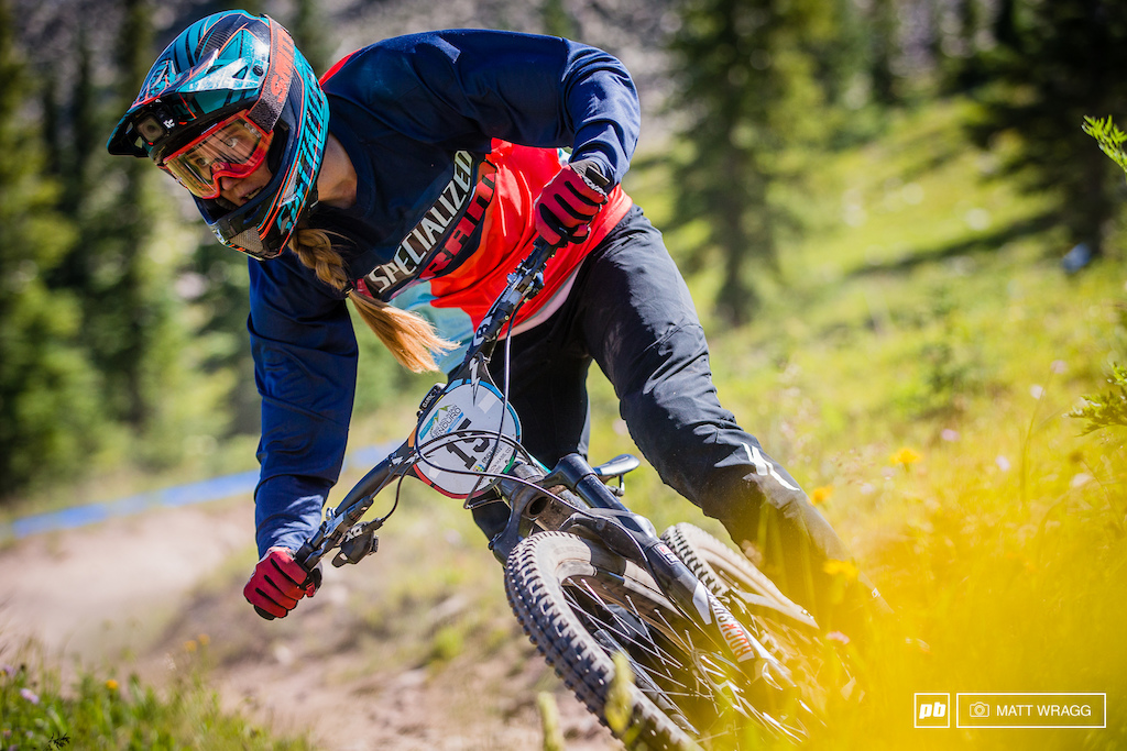 Miranda Miller is back for another crack at this enduro gig after he impressive finish in La Thuile. She was flying through the meadows in practice.