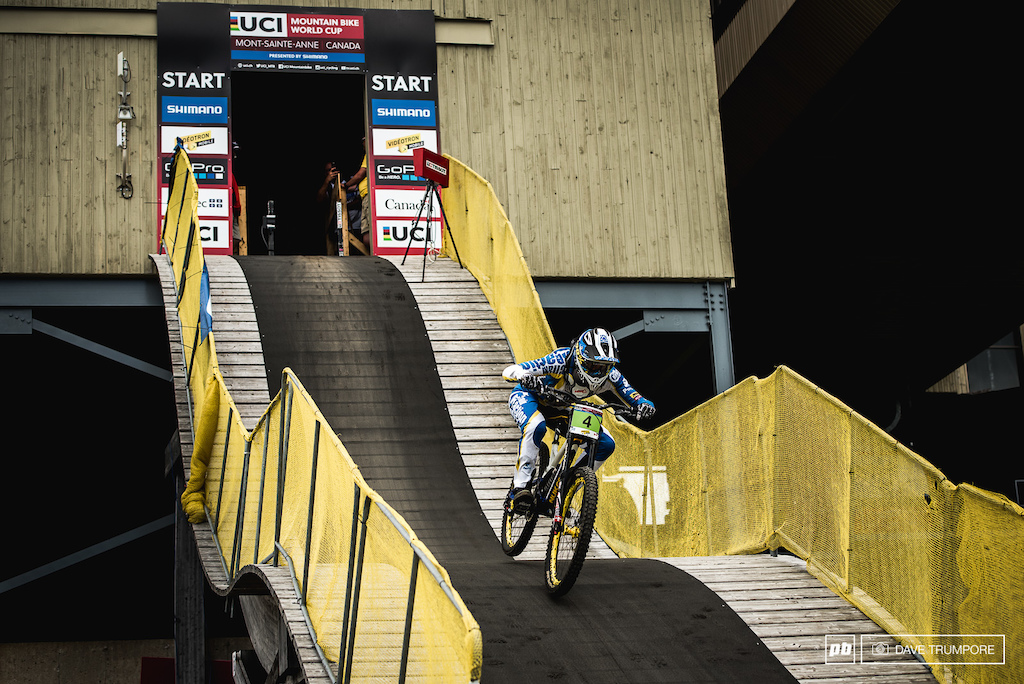 Eliot Heap hits warp speed out of the near vertical start gate in Mont Saint Anne.