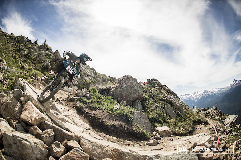 Garret McGurk swirling down the trails and intdo the Whistler Bike Park.