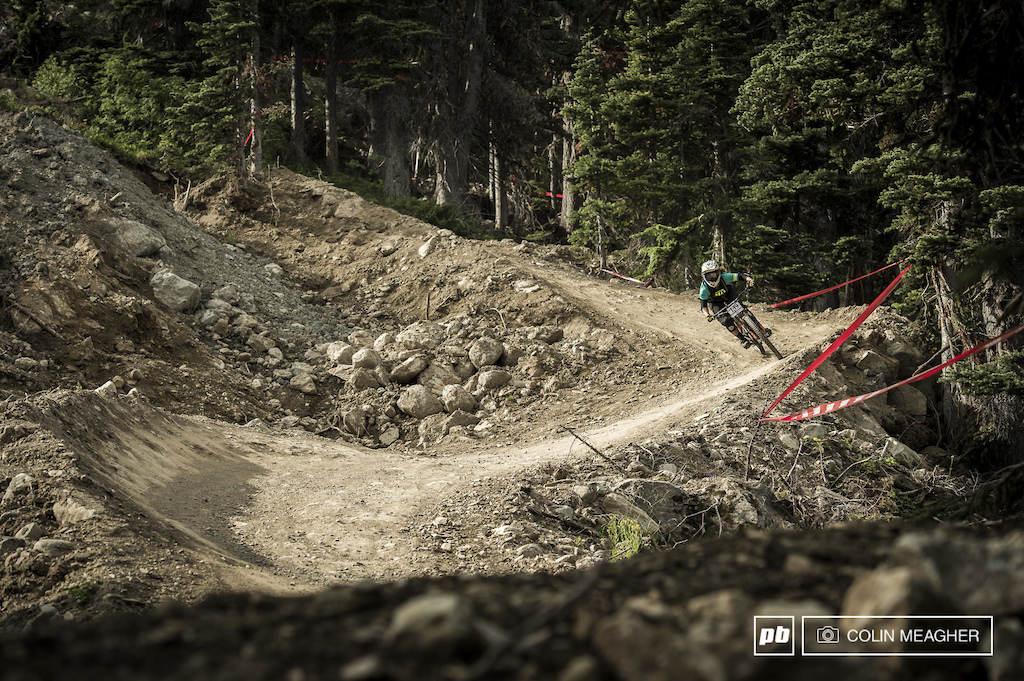 Keren Warehem of the UK on course. Short of Ft William in Scotland, they simply don't have trails like what she rode in Whistler today.
