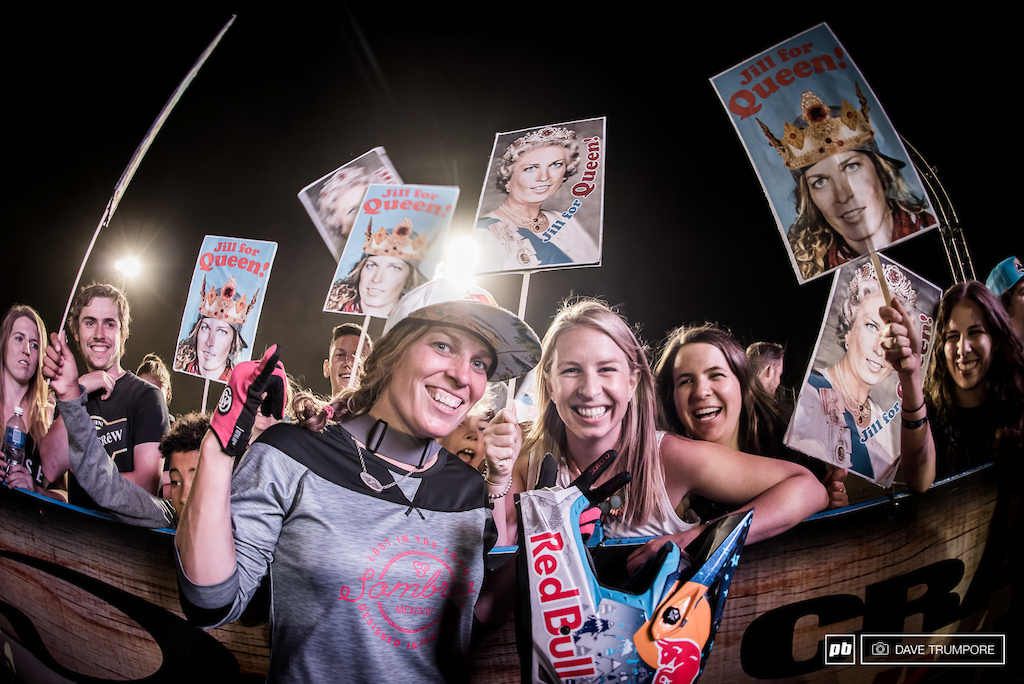 With her fan club in tow Jill is looking good in the overall Queen of Crankworx point standings.