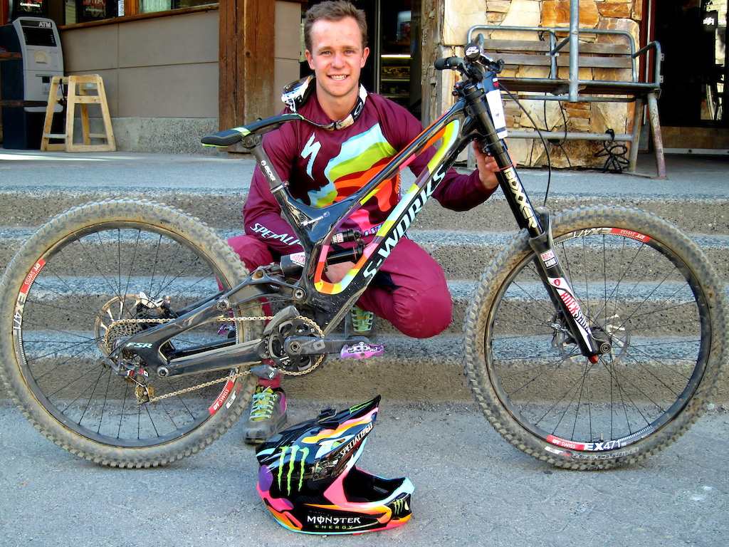 Troy Brosnan and his custom painted Whistler Crankworx edition Specialized Demo 8
