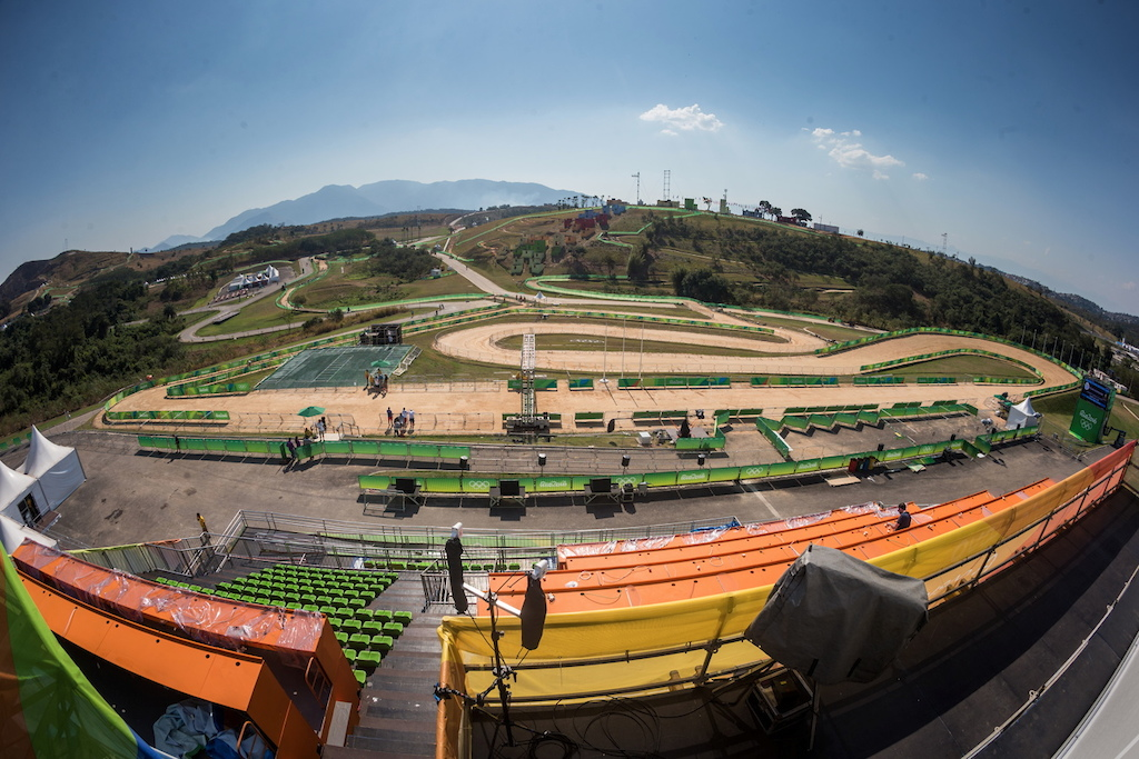 Mountain bike olympic course was build in Deodoro. It s 4 85 km s long complete man-made has two climbs and lot of technical stuff like rockgardens.