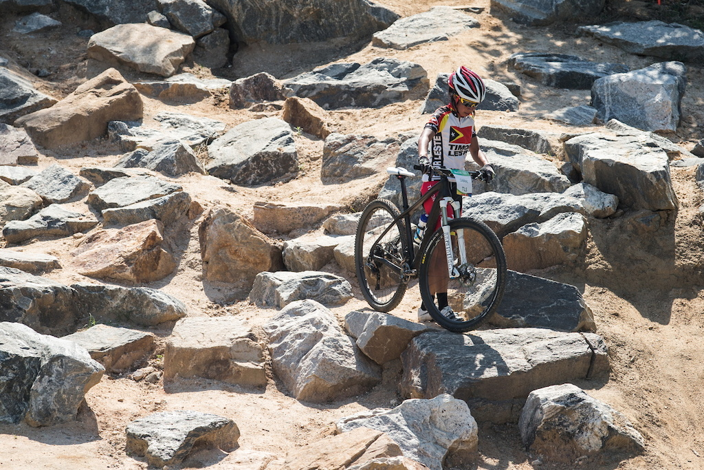 This is the biggest rockgarden on the course and even it is a bit easyier then It was originaly made last year for some riders it was difficult to get through.