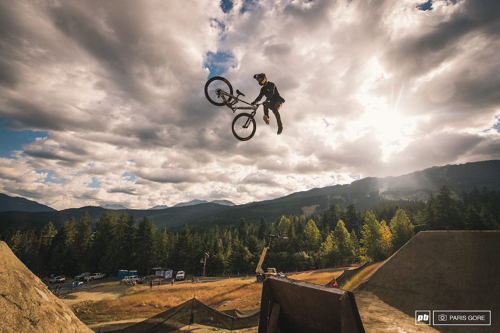 Brandon warming up the morning with a double tailwhip. One of the few times it felt like we really saw him ride today. A snafu and second run did not sit well with the multi time Crankworx champ.