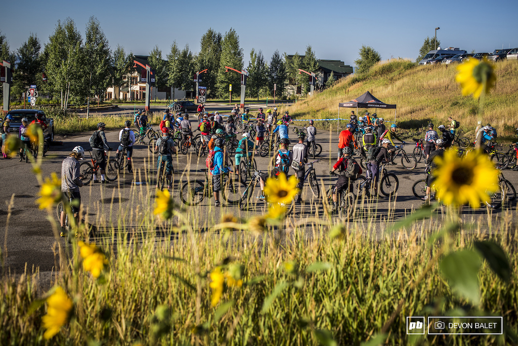 Racers gather at the base of Steamboat Resort for the start of the EnduroX Big Mountain Eduro race.