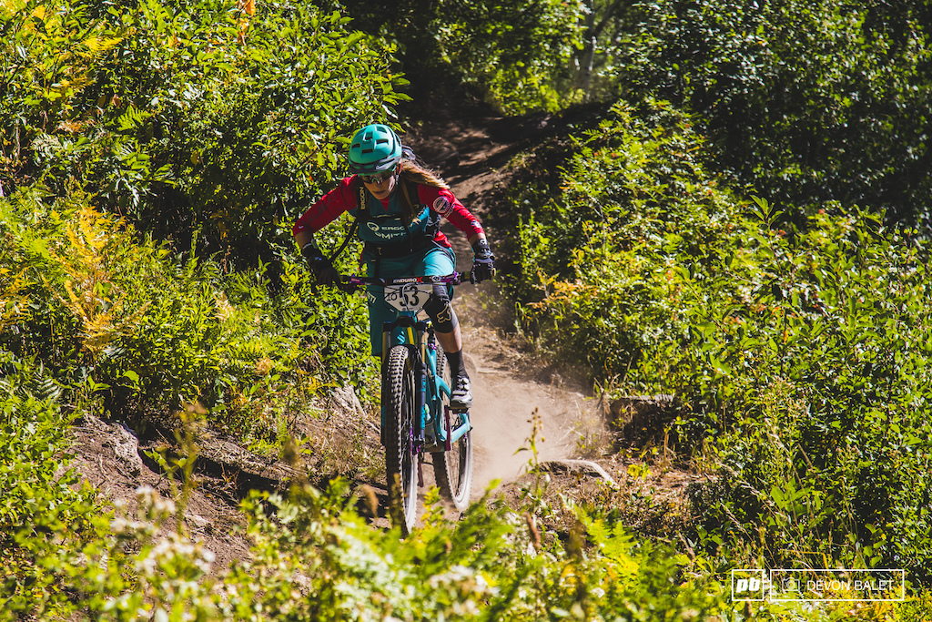 Long time Yeti racer Sarah Rawley hammers out a short flat section on stage 5.