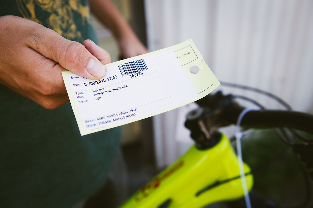Paris Gore shows the claim ticket from the Bellingham Police. Photo: Danielle Baker