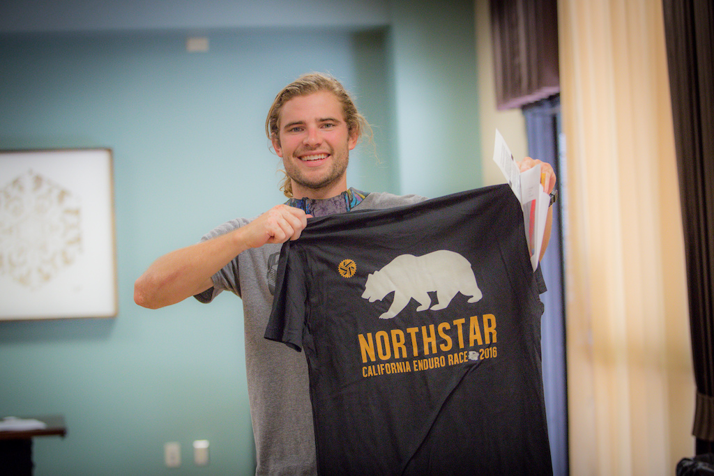 Derek Teel of the NorCal Cooperative Kona Team picked up his registration and custom Northstar CES shirt. He looked smooth during Practice and at the end of day one is sitting in the 5th place spot.