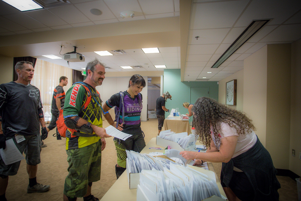 Thomas and Amy Rambacher check in to registration Friday. They made the 10 hour trip up from Southern California.
