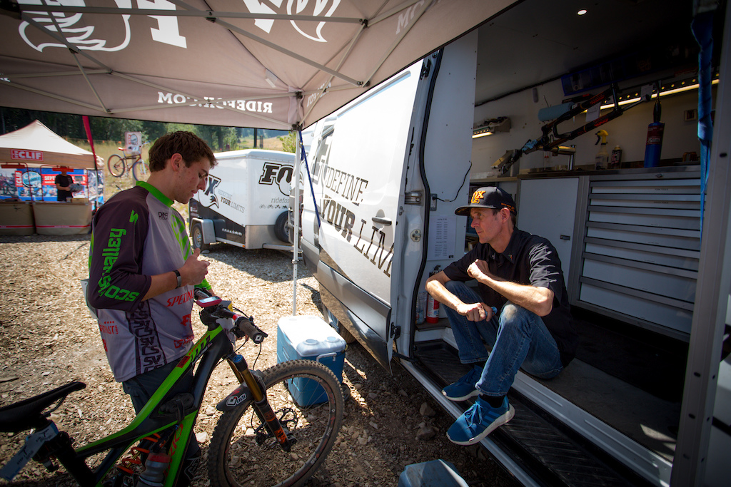 Fox Tech Rep Chris Zegers keeping racers suspension dialed.