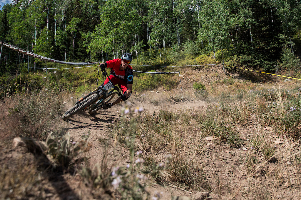 Evan Smail races Stage Two of the SCOTT Enduro Cup at Deer Valley Resort in Park City, UT on Aug. 28, 2016