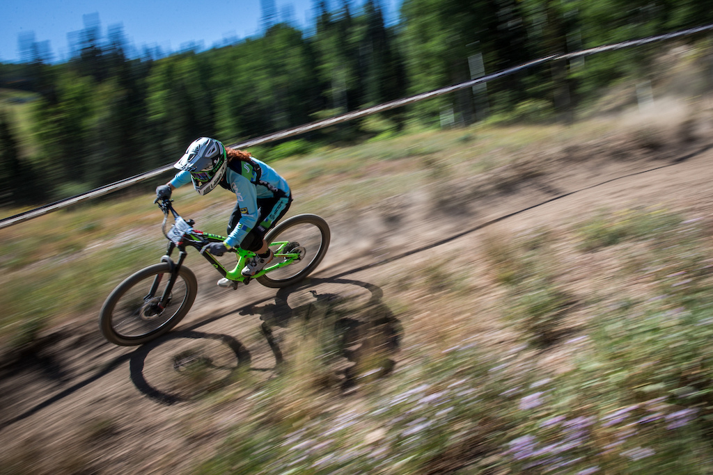 Teal Stetson-Lee races Stage Two of the SCOTT Enduro Cup at Deer Valley Resort in Park City UT on Aug. 28 2016