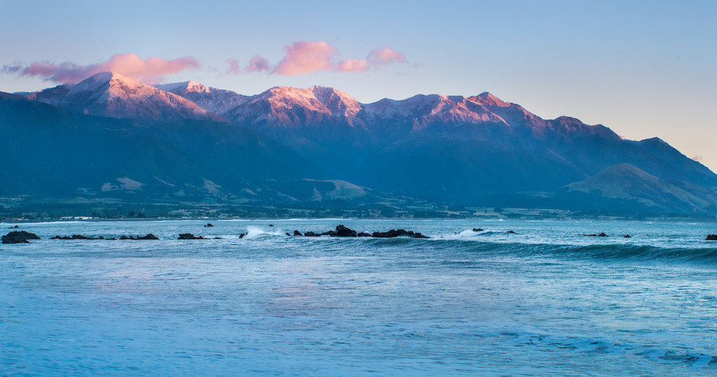 Sunset over the mountains at Kaikoura New Zealand