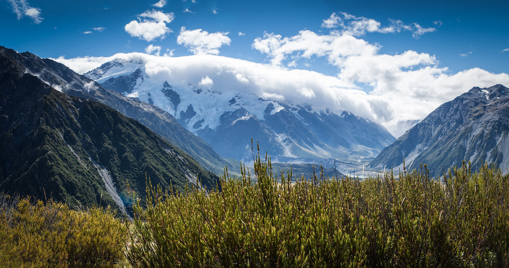 Snow-covered foothills of Mount Cook New Zealand