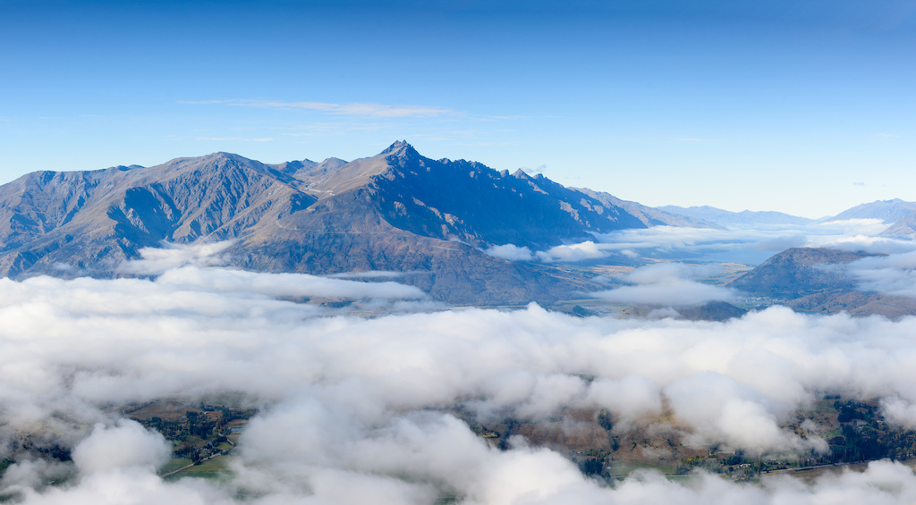Cloud inversion over the landscape of South Island New Zealand