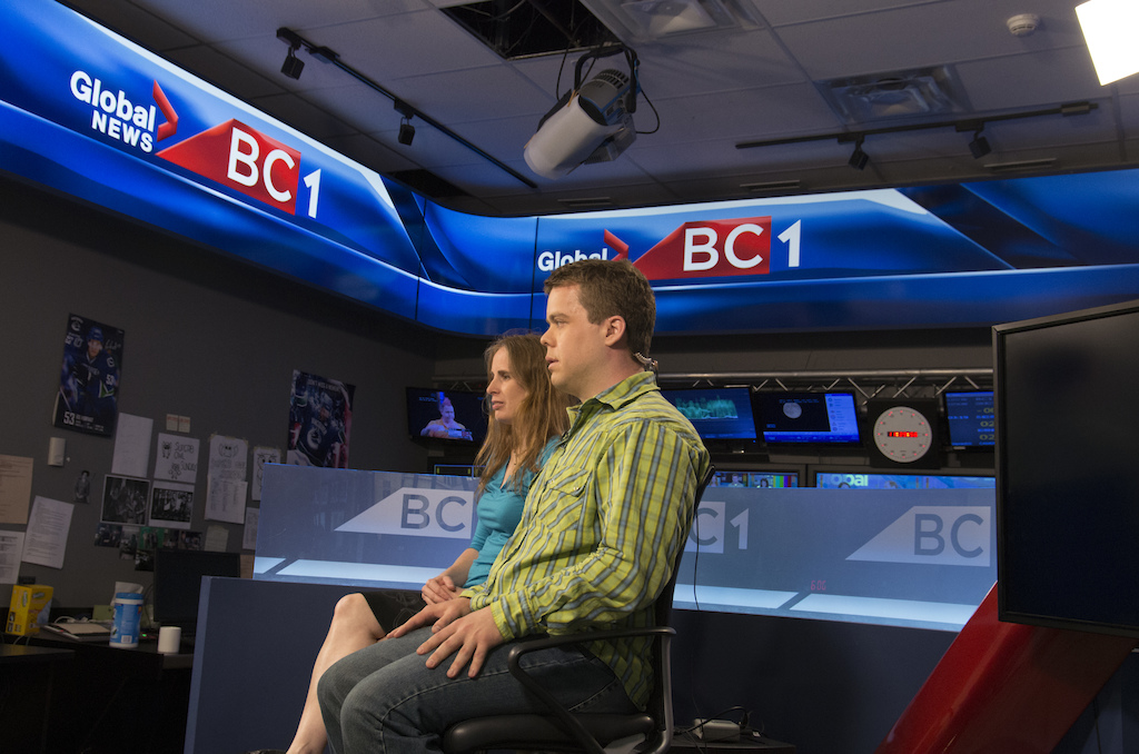 Pre-interview nerves Penny and I just before appearing on Global BC1 News. We were in a small studio with the anchor in a different room. We could hear her in our earpieces but couldn t see her because we were told to look at the camera. It was extremely intimidating. Clearly the producer noticed because he was in our ears saying Remember to breathe Photo by Martin Newman.