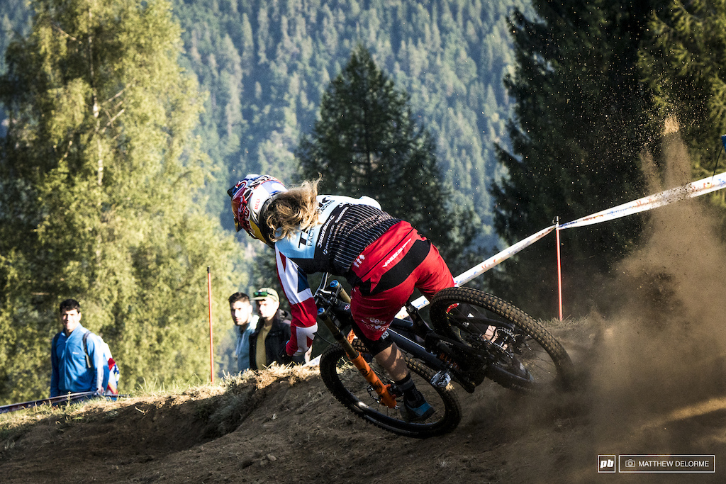 Rachel Atherton got loose this morning in practice but she still took the fastest time on the day.