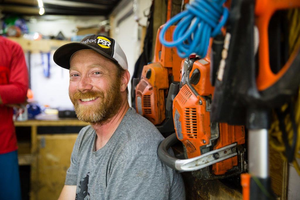 This is Jerome Pelland of Sentiers Boreals in his mobile trail building trailer. PHOTO: Ben Gavelda